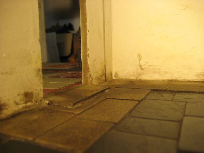 (laying k floor )doorway thresh laid
