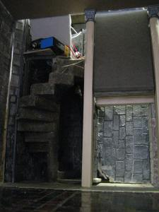 spiral stair and mountboard frame to fireplace