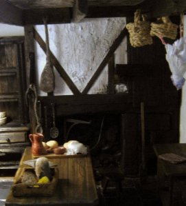 Tudor style kitchen fireplace and smoke cupboard