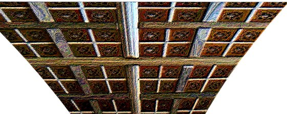 Enameled artistic effect to ceiling