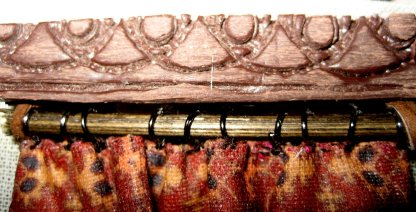 theinfill - rail - curtain rings - leather pole hangers - faux carving in Fimo