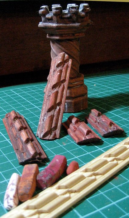 theinfill - Tudor, Elizabethan and Jacobean doll's house blog site --- Tudor Chimney pots from Romney Miniatures with Richarg Burbidge moulding strip