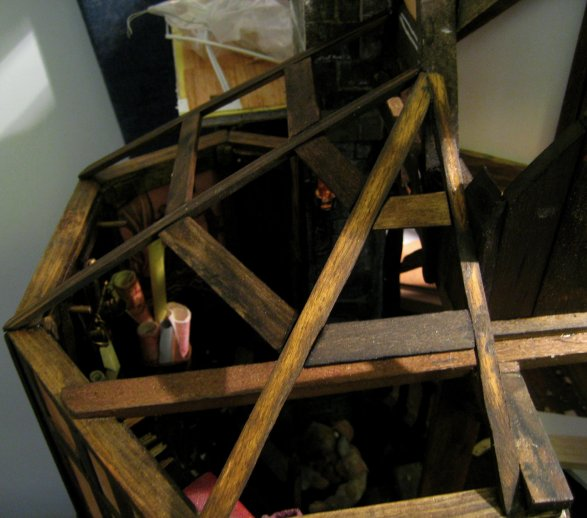 theinfill blog - Medieval, Tudor, Jacobean dolls house - working out the beams for a tower roof