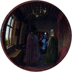 theinfill - Medieval, Tudor, Jacobean dolls house blog - J van Eyck's Arnolfini portrait - the mirror reflection