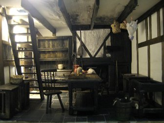 theinfill - Medieval, Tudor, Jacobean dolls house - kitchen and entrance hall