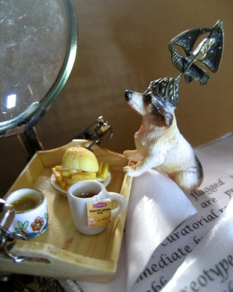 theinfill doll's house blog - dog and tea tray enter the Time Techs' act