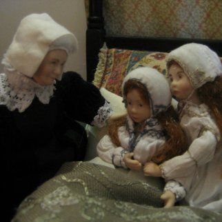 theinfill and theinfillclicks 1:12 figures in the girls' bedroom - Medieval, Tudor and Jacobean dolls house blog
