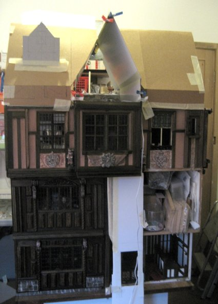 theinfill - Medieval to Jacobean dolls' house blog - 1:12 half legs - attics and roofing of Guild building comple