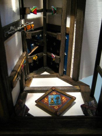 theinfill - Medieval to Jacobean dolls' house blog - blue ceiling with star shapes in Guild Committee Room
