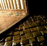 theinfill – the infill – Tudor, Elizabethan, Jacobean Dolls House Blog – Front Porch internal dressing - Contrasts - inner tiling outer paving