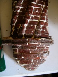 theinfill – the infill – Tudor, Elizabethan, Jacobean Dolls House Blog – Front Porch - corbelled chimney - egg box bricks