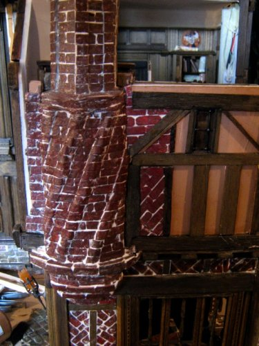 theinfill – the infill – Tudor, Elizabethan, Jacobean Dolls House Blog – Front Porch - blending in the chimney