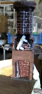 theinfill – the infill – Tudor, Elizabethan, Jacobean Dolls House Blog – Front Porch - corbelled chimney -fireplace air-drying clay