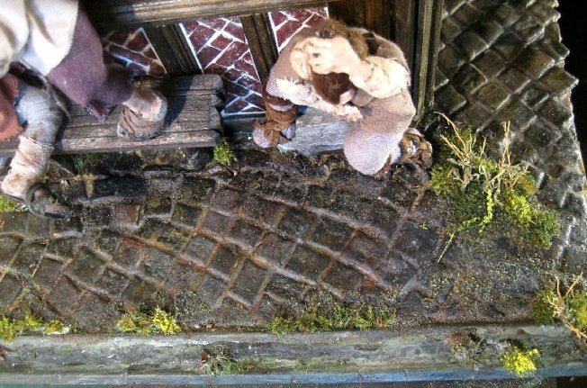 theinfill dolls house blog - Medieval, Tudor, Jacobean 1:12 dolls house – Porch working on the other side - trying some drainage