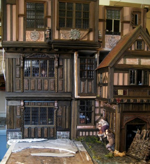 theinfill dolls house blog - Medieval, Tudor, Jacobean 1:12 dolls house – Porch working on the other side - building up the outside facade