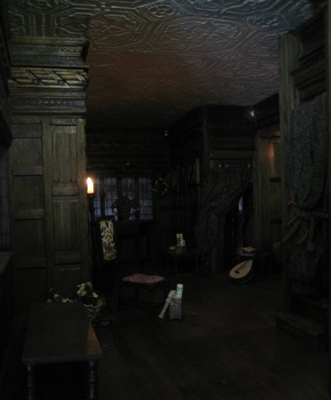 theinfill dolls house blog - the infill - Medieval, Tudor, Jacobean 1:12 dolls house - Long gallery - daylight plus bulbs and ceiling new LED unit