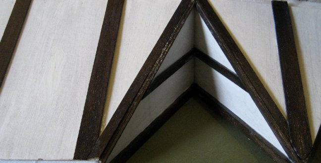 theinfill dolls house blog - beams in before roof section up
