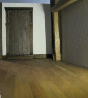 theinfill dolls house blog - 2d door waiting furniture in side lit room