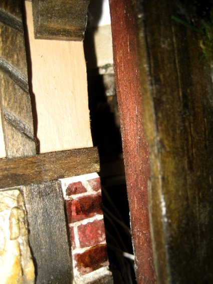 theinfill Medieval, Tudor, Jacobean 1:12 dolls house blog - the infill dolls house blog – chimney stack removable panel view of slot and insert on left side
