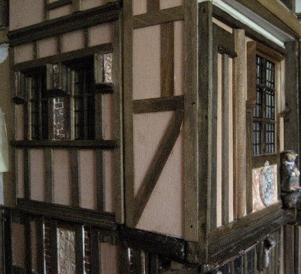 theinfill Medieval, Tudor, Jacobean 1:12 dolls house blog - both external walls of girl's bedroom