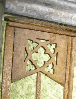 theinfill Medieval, Tudor, Jacobean 1:12 dolls house blog - the infill dolls house blog – an Angela Downton wood laser with a 'V' cut used in Great Hall