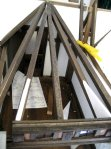 theinfill Medieval, Tudor, Jacobean 1:12 dolls house blog - the infill dolls house blog – more roof beams added to give shape to roof 2