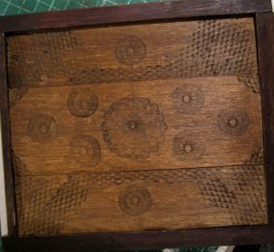 theinfill Medieval, Tudor, Jacobean 1:12 dolls house blog - bruised, patterned and stained balsa wood
