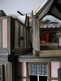 theinfill Medieval, Tudor, Jacobean 1:12 dolls house blog - the infill dolls house blog – right attic removable section viewing down the party wall space