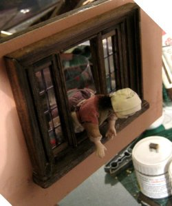 theinfill Medieval, Tudor, Jacobean 1:12 dolls house blog - the infill dolls house blog – trying out a figure in the window space