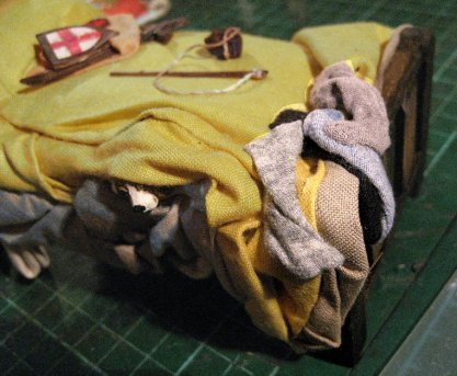 theinfill Medieval, Tudor, Jacobean 1:12 dolls house blog - the infill dolls house blog – boy's bedroom - odd hose left on bed end