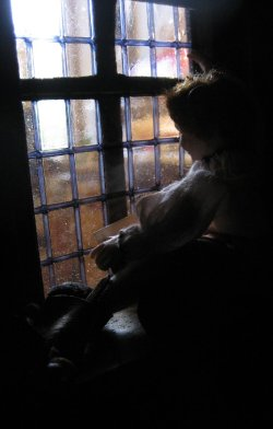 theinfill Medieval, Tudor, Jacobean 1:12 dolls house blog - the infill dolls house blog – young boy looking out from a window at the street scene