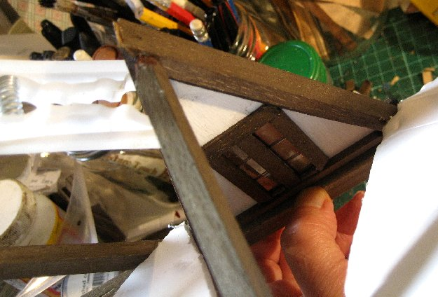 theinfill Medieval, Tudor, Jacobean 1:12 dolls house blog - the infill dolls house blog – working on inner face of dormer in place 2
