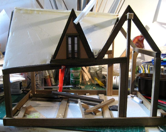 theinfill Medieval, Tudor, Jacobean 1:12 dolls house blog - the infill dolls house blog – side view of right attic bay