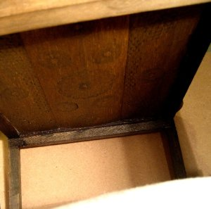 theinfill Medieval, Tudor, Jacobean 1:12 dolls house blog - trying out the bruised, patterned and stained balsa wood