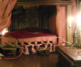 theinfill Medieval, Tudor, Jacobean 1:12 dolls house blog - the infill dolls house blog – Red Bed trying out drapes and furniture