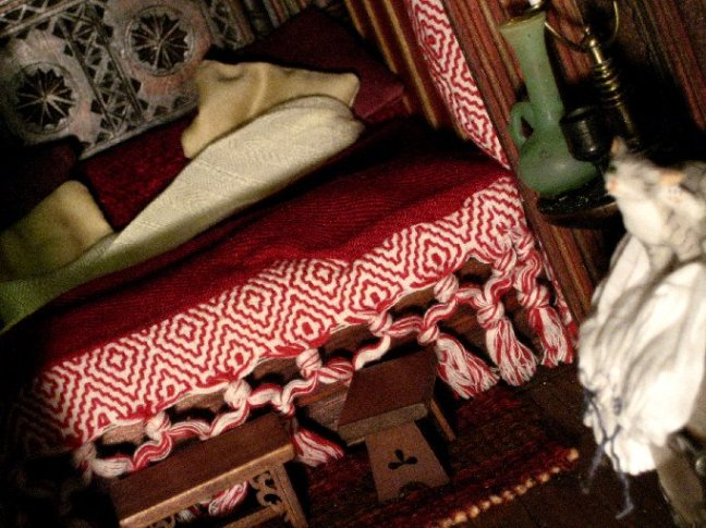 theinfill Medieval, Tudor, Jacobean 1:12 dolls house blog - the infill dolls house blog – foot of bed Red Bed bedroom