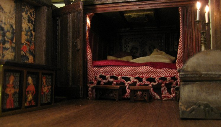 theinfill Medieval, Tudor, Jacobean 1:12 dolls house blog - the infill dolls house blog – Bed with pillows and footstools