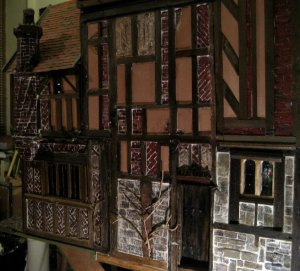 theinfill Medieval, Tudor, Jacobean 1:12 dolls house blog - the infill dolls house blog – fitting porch to main house 2