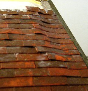 theinfill Medieval, Tudor, Jacobean 1:12 dolls house blog - the infill dolls house blog – bending Versi tiles for ripple roofing 2