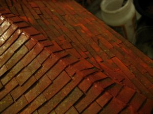 theinfill Medieval, Tudor, Jacobean 1:12 dolls house blog - the infill dolls house blog – Richard Stacey Versi tiles in place - filling gap
