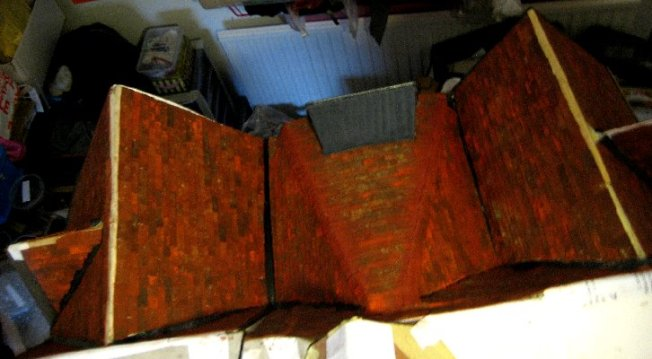 theinfill Medieval, Tudor, Jacobean 1:12 dolls house blog - the infill dolls house blog – high up view of front ridge sections