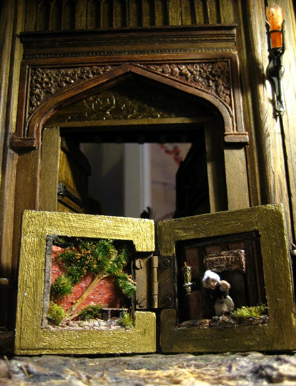 theinfill Medieval, Tudor, Jacobean 1:12 dolls house blog - the infill dolls house blog – the completed inside of the box in front of 1:12 porch doorway
