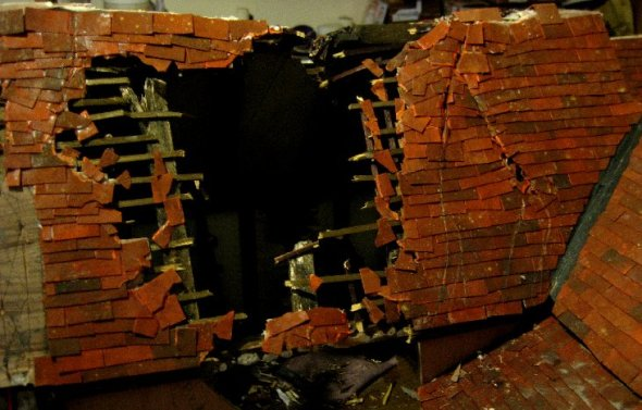 theinfill Medieval, Tudor, Jacobean 1:12 dolls house blog - the infill dolls house blog – second storm damage slope - more