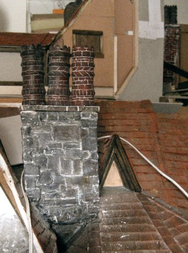 theinfill Medieval, Tudor, Jacobean 1:12 dolls house blog - the infill dolls house blog – brickwork detailing on chimney pots in place 2