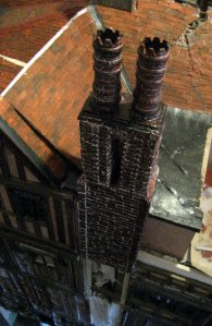 theinfill Medieval, Tudor, Jacobean 1:12 dolls house blog - the infill dolls house blog – new chimney on right side of house 2 with lead seams as drainage lines