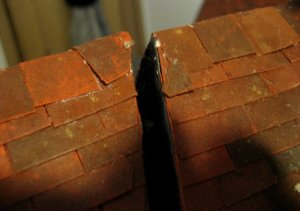 theinfill Medieval, Tudor, Jacobean dolls house blog - theinfill dolls house blog – ridge tiles at point where removable section needs to be removable