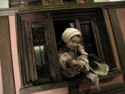 theinfill Medieval, Tudor, Jacobean dolls house blog - theinfill dolls house blog – boy's bedroom with girl and slop bucket