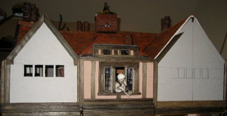 theinfill Medieval, Tudor, Jacobean dolls house blog - theinfill dolls house blog – fourth closing wall cut to fit in 2 mm card