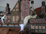 theinfill Medieval, Tudor, Jacobean dolls house blog - Hogepotche Hall –Hodgepodge Hall – trying out builders on back slope 1