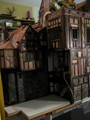 theinfill Medieval, Tudor, Jacobean dolls house blog - Hogepotche Hall –Hodgepodge Hall – kitchen extension base position